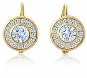 Roulette Bezel Channel Set Round Cubic Zirconia Halo Euro Wire Earrings