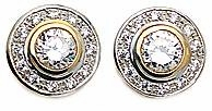 Round .75 Carat Cubic Zirconia Bezel Set Pave Halo Earrings