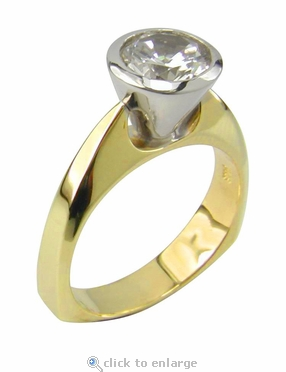 Round Cone Bezel Set Cubic Zirconia Two Tone European Square Shank Solitaire Engagement Ring