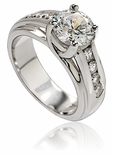 1.5 Carat Round Cubic Zirconia Luccia Lattice Prong Channel Set Solitaire