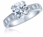 Royal Crown 2 Carat Round Double Prong Cubic Zirconia Pave Solitaire Engagement Ring