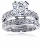 Asscher 4 Carat Royal Crown Cubic Zirconia Double Prong Pave Bridal Set