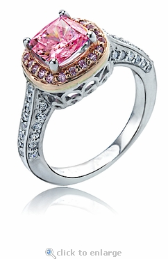 Rozay 1.5 Carat Cushion Cut Simulated Pink Cubic Zirconia Pave Halo Solitaire Engagement Ring