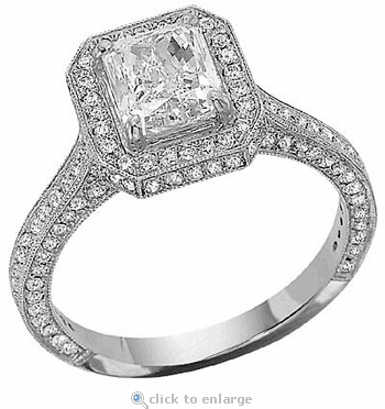 Rushmore 2.5 Carat Emerald Cut Micro Pave Set Cubic Zirconia Halo Solitaire Engagement Ring