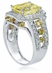Santa Cruz 4 Carat Emerald Radiant Cut Canary Cubic Zirconia Halo Pave Solitaire Engagement Ring