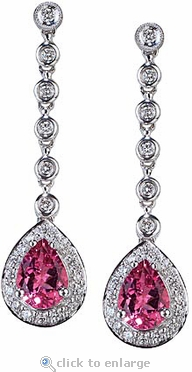 Santina 4 Carat Pear Cubic Zirconia Halo Bezel Set Round Drop Earrings