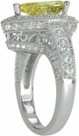 Saxony 3 Carat Pear Canary Cubic Zirconia Pave Encrusted Halo Cathedral Ring