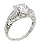 Scriptique 2 Carat Round Cubic Zirconia Baguette Antique Scroll Solitaire Engagement Ring
