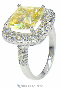 Selita 5.5 Carat Canary Cushion Cut Cubic Zirconia Pave Halo Solitaire Engagement Ring