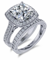 Senty Cushion Cut Cubic Zirconia Cathedral Pave Halo Bridal Set