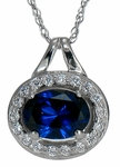 Serefine Man Made Ruby Oval Halo Cubic Zirconia Pave Set Round Pendant