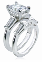 Sex and the City Charlotte 1.5 Carat Emerald Step Cut Cubic Zirconia Baguette Solitaire with Matching Contoured Band