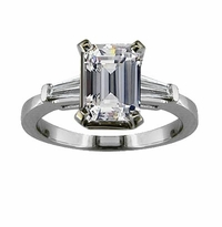 Sex And The City Charlotte 4 Carat Emerald Step Cut Cubic Zirconia Baguette Solitaire Engagement Ring