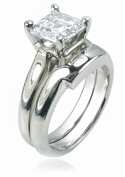 Sex and the City Inspired Step Cut Square Cubic Zirconia Bridal Set with Contoured Matching Band