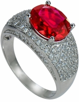 Entrada 3.5 Carat Lab Created Ruby Oval Pave Cubic Zirconia Solitaire Engagement Ring