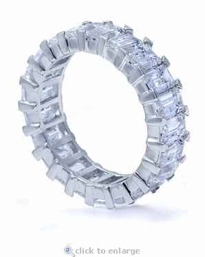Sinclair .50 Carat Each Emerald Cut Cubic Zirconia Shared Prong Eternity Band in 14K White Gold