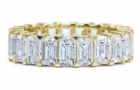 Sinclair .50 Carat Each Emerald Cut Cubic Zirconia Shared Prong Eternity Band in 14K Yellow Gold