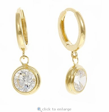 Bezel Hoop Drop Cubic Zirconia Earrings in 14K Yellow Gold