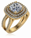 Soliera 1.5 Carat Cushion Cut Cubic Zirconia Double Halo Split Shank Engagement Ring