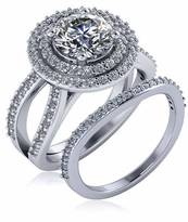 Soliera 1.5 Carat Round Cubic Zirconia Double Halo Split Shank Wedding Set
