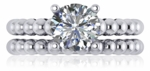 Sphera 2 Carat Round Cubic Zirconia Beaded Shank Cathedral Wedding Ring Set