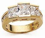 Squares 1 Carat Cubic Zirconia Princess Cut Three Stone Solitaire Engagement Ring
