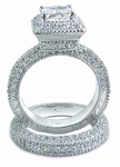 Squariff 1 Carat Princess Cut Cubic Zirconia Art Deco Pave Wedding Set