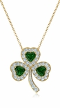 St. Patricks Day Cubic Zirconia Lucky Shamrock Irish Clover Leaf Pendant