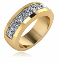 Stanford Mens Seven Stone princess Cut Square Channel Set Cubic Zirconia Wedding Band