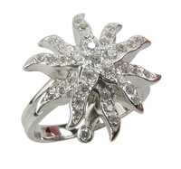 Sunburst Pave Set Round Cubic Zirconia Right Hand Ring