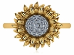 Sunflower Pave Set Cubic Zirconia Ring