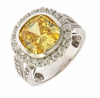 Sunrise Splendor 7 Carat Bezel Set Cushion Cut Lab Created Canary Cubic Zirconia Pave Halo Engagement Ring