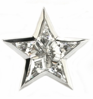 Super Star Lapel Pin With Kite Cut Diamond Look Cubic Zirconia