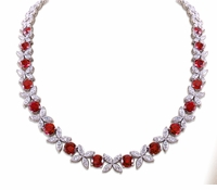 Sydney Marquise Star Alternating Round Floral Statement Necklace