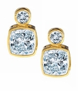 Symba 1 Carat Each Cubic Zirconia Cushion Cut And Round Bezel Stud Earrings