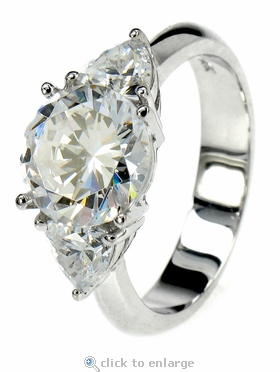 Tamar 2.5 Carat Round Cubic Zirconia With Trillions Solitaire Engagement Ring