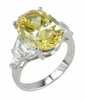 Tempio 5.5 Carat Canary Lab Created Oval Cubic Zirconia Trapezoid Baguette Engagement Ring