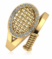Tennis Racket Pave Cubic Zirconia Ring