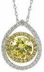 Aurora Halo Pave Set Round Cubic Zirconia Simulated Canary Diamond Pendant
