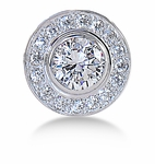 Baldwin .75 Carat Cubic Zirconia Round Bezel Set Pave Halo Mens Lapel Pin 14K White Gold