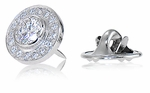 Baldwin .75 Carat Round Bezel Set Pave Halo Mens Lapel Pin 14K White Gold