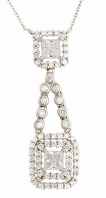 Fortuna .75 Carat Cubic Zirconia Princess Cut Double Halo Drop Necklace