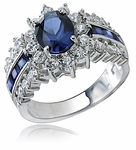 Regent Oval Man Made Sapphire And Cubic Zirconia Cluster Halo Ring