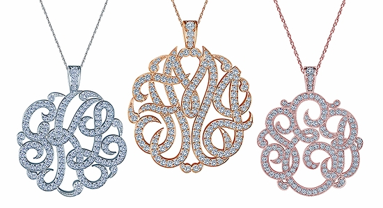Personalized Three Letter Script Monogram Cubic Zirconia Pendant Pave Diamond Look Necklaces