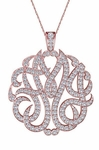 Personalized Three Letter Script Monogram Pendant Cubic Zirconia Pave Diamond Look Necklace - Large 1.75 Inch