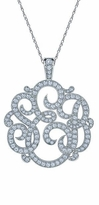 Personalized Three Letter Script Monogram Cubic Zirconia Pendant Pave Diamond Look Necklace - Medium 1.5 Inch