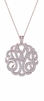 Personalized Three Letter Script Monogram Pendant Pave Diamond Look Necklace - Small 1 Inch