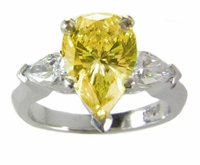 Three Stone Pear Elegance 4 Carat Canary Cubic Zirconia Solitaire Engagement Ring
