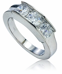 Three Stone Round Channel Set Cubic Zirconia Anniversary Band