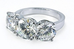 Three Stone Round Cubic Zirconia Anniversary Ring 2 Carat Center
